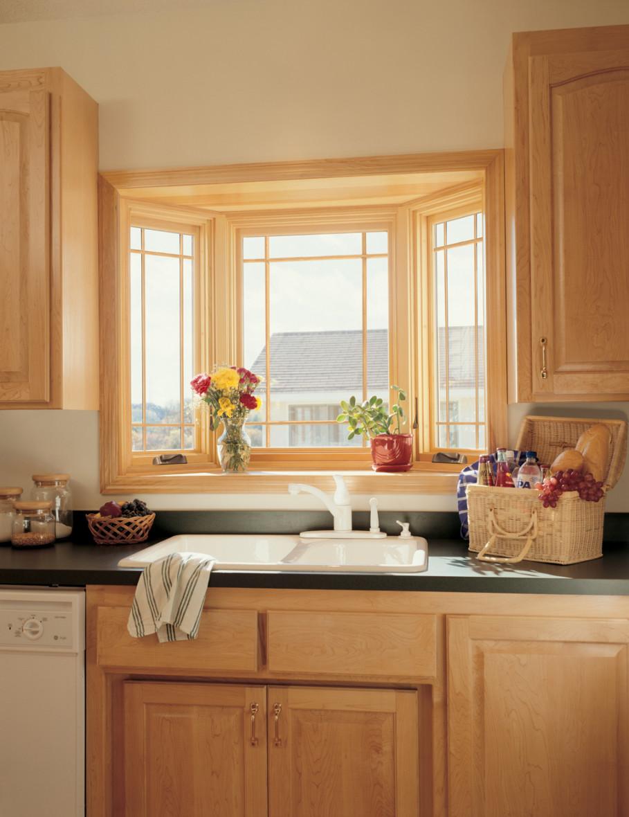 Giant wooden kitchen windows