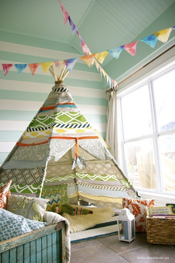 No sew teepee kids game room