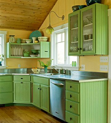 mint green with sunny yellow kitchen colors ideas