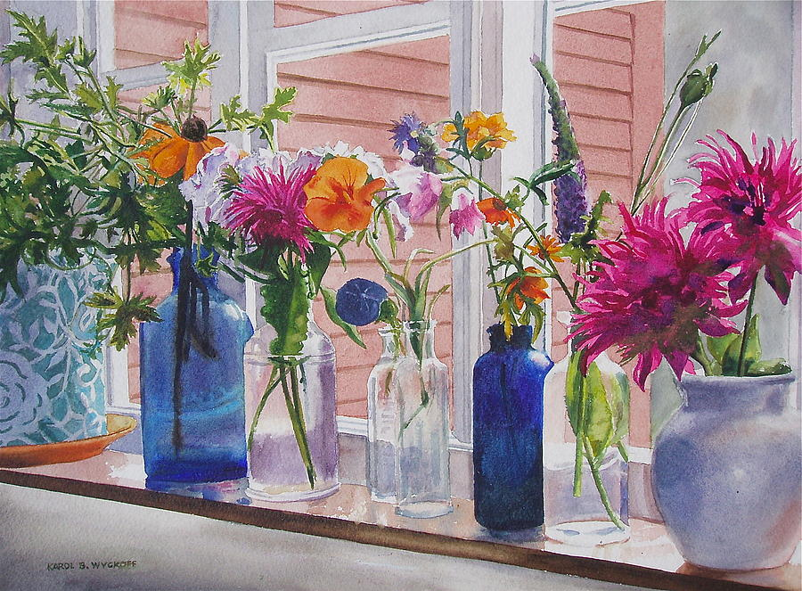 Kitchen windows painting - flowers planting