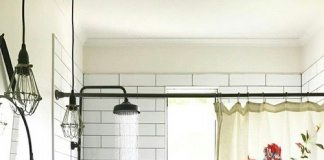 farmhouse bathroom curtains & sink
