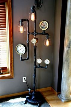 steampunk lamp standing pipe lamp