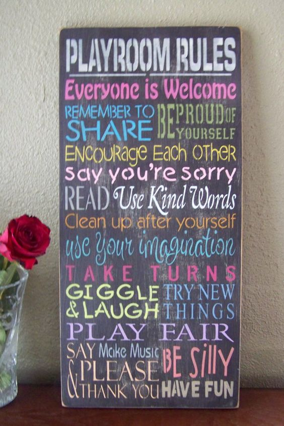 Kids game room rules board