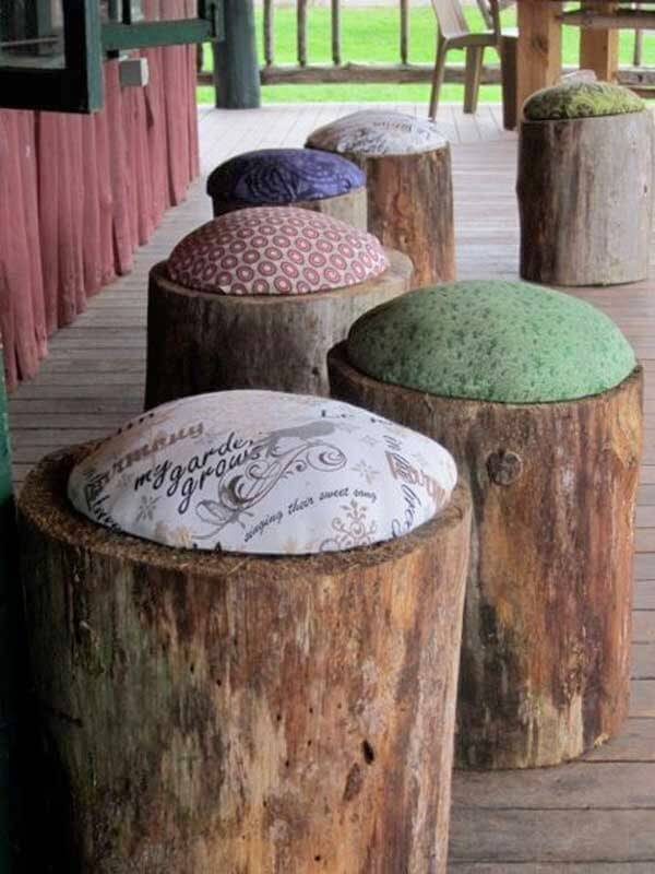 Outdoor patio furniture tree trunk chairs