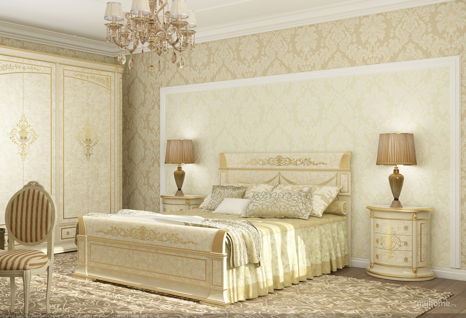 Beige and golden vectorian bedroom interior design and furniture sets