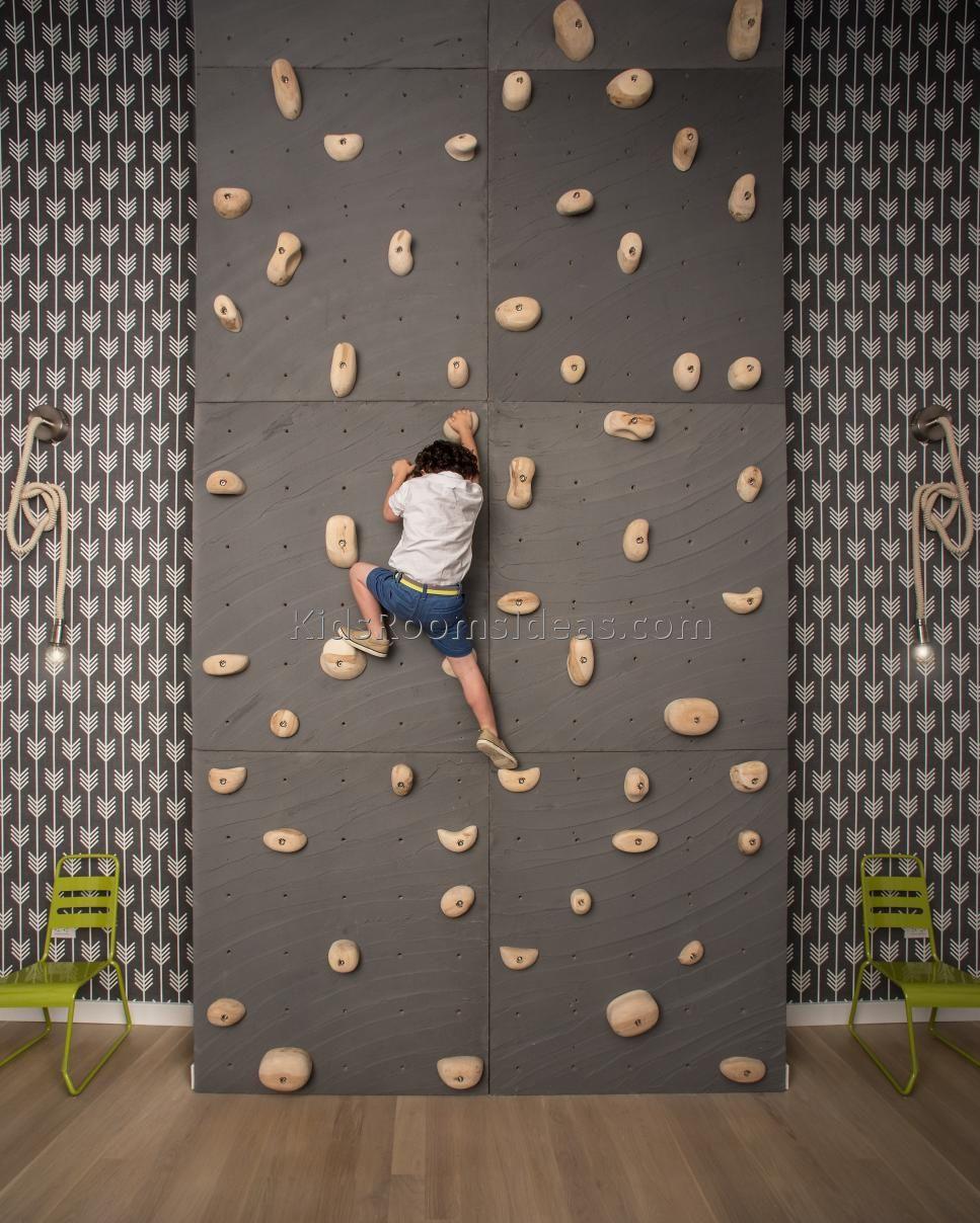 rock climbing kids wall room