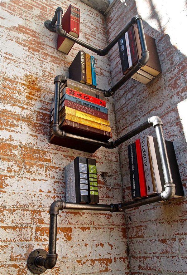 Metallic bookcase pipes steampunk decor ideas