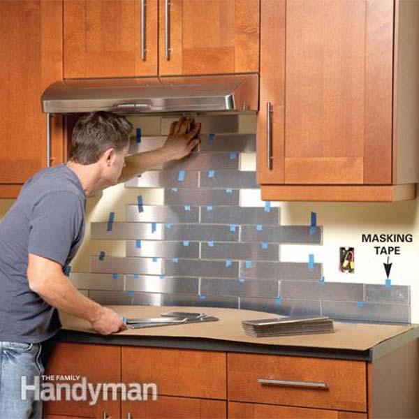 stainless steel diy kitchen backsplash