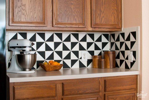 Kitchen backsplash using-matte-black-vinyl