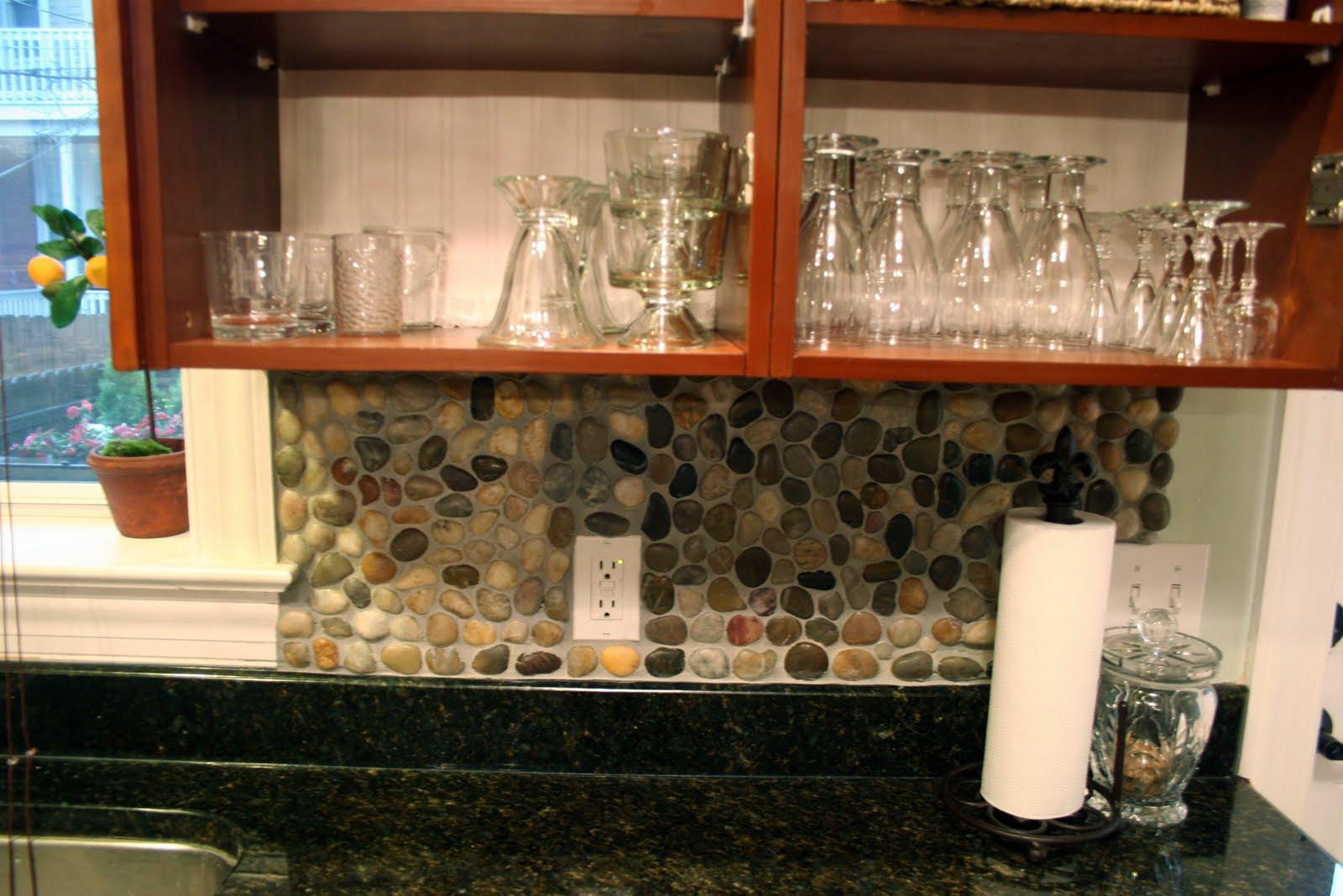 garden stone diy kitchen backsplash