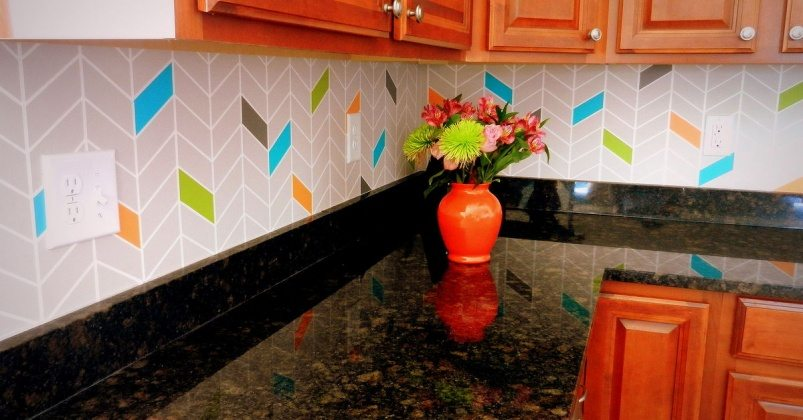 colorful-painted-diy-kitchen-backsplash-kitchen