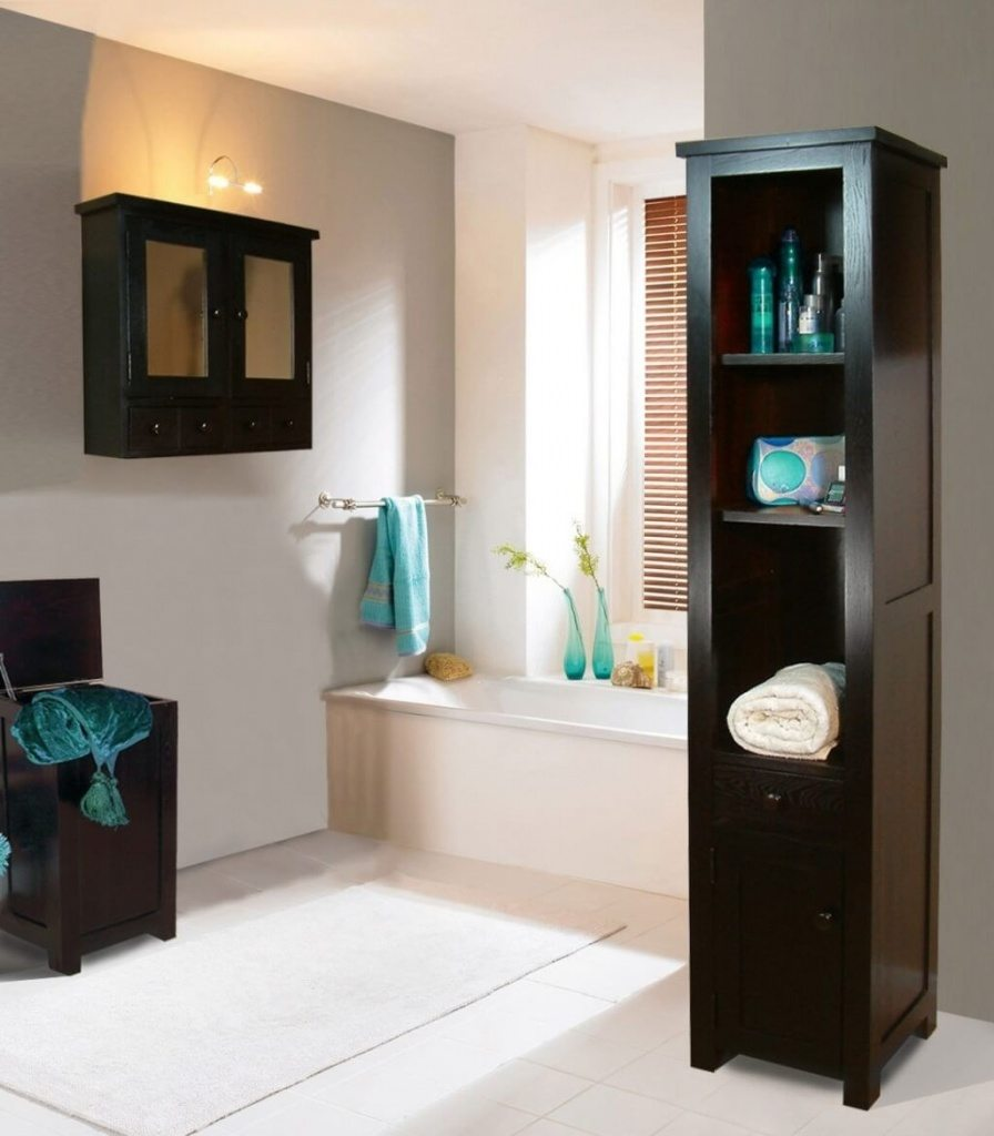 antique-large-bathroom-wall-cabinets-with-blue-towel-and-brown-shade-near-white-tub-slimline-bathroom-wall-cabinets-espresso-wall-cabinet-bathroom