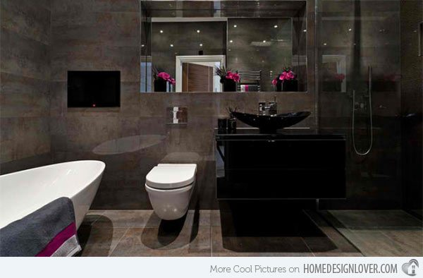 black elegant bathroom wall mounted cabinet