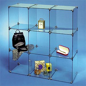 cube bookshelf glass