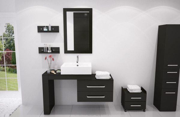 furniture-fantastic-small-black-bathroom-wall-cabinet-with-stainless-steel-drawer-pulls-hardware-under-floating-vanity-shelf-and-rectangular-porcelain-vessel-sink-also-framed-mirrors-600x390