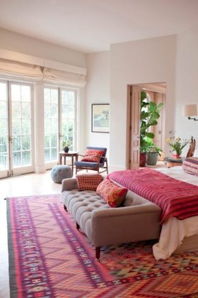 furnitures-bedroom-fancy-design-of-country-area-rug-with-red-theme-and-detailed-pattern-plus-brown-sofa-with-foamy-seat-and-low-backrest-with-red-patterned-cushions-bedroom-rugs