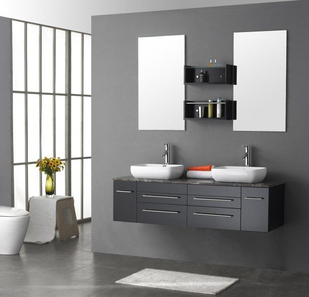 modern-double-bathroom-vanities-with-grey-floating-sink-vanities-combined-with-granite-top-and-double-vessel-sinks-also-wakk-mounted-rectangular-mirror-610x585