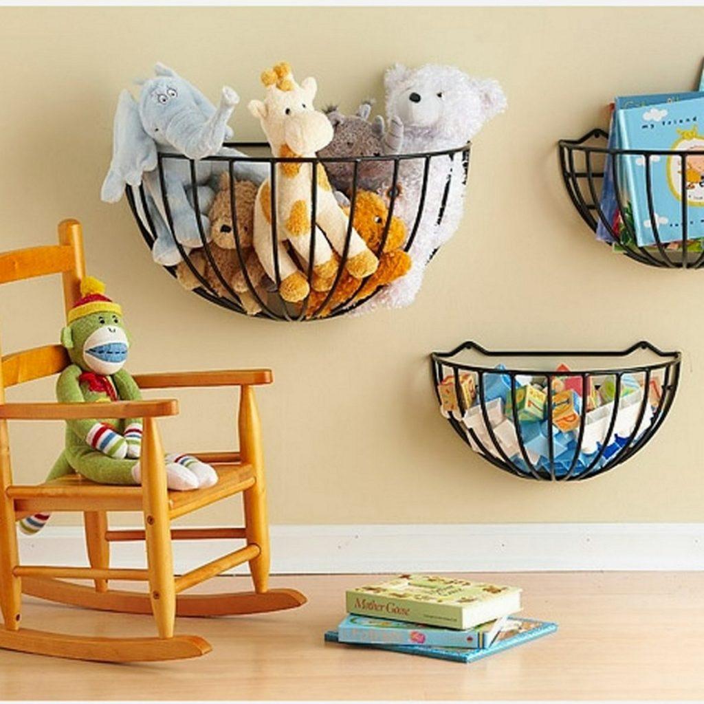 Wall mounted stuffed animal storage idea