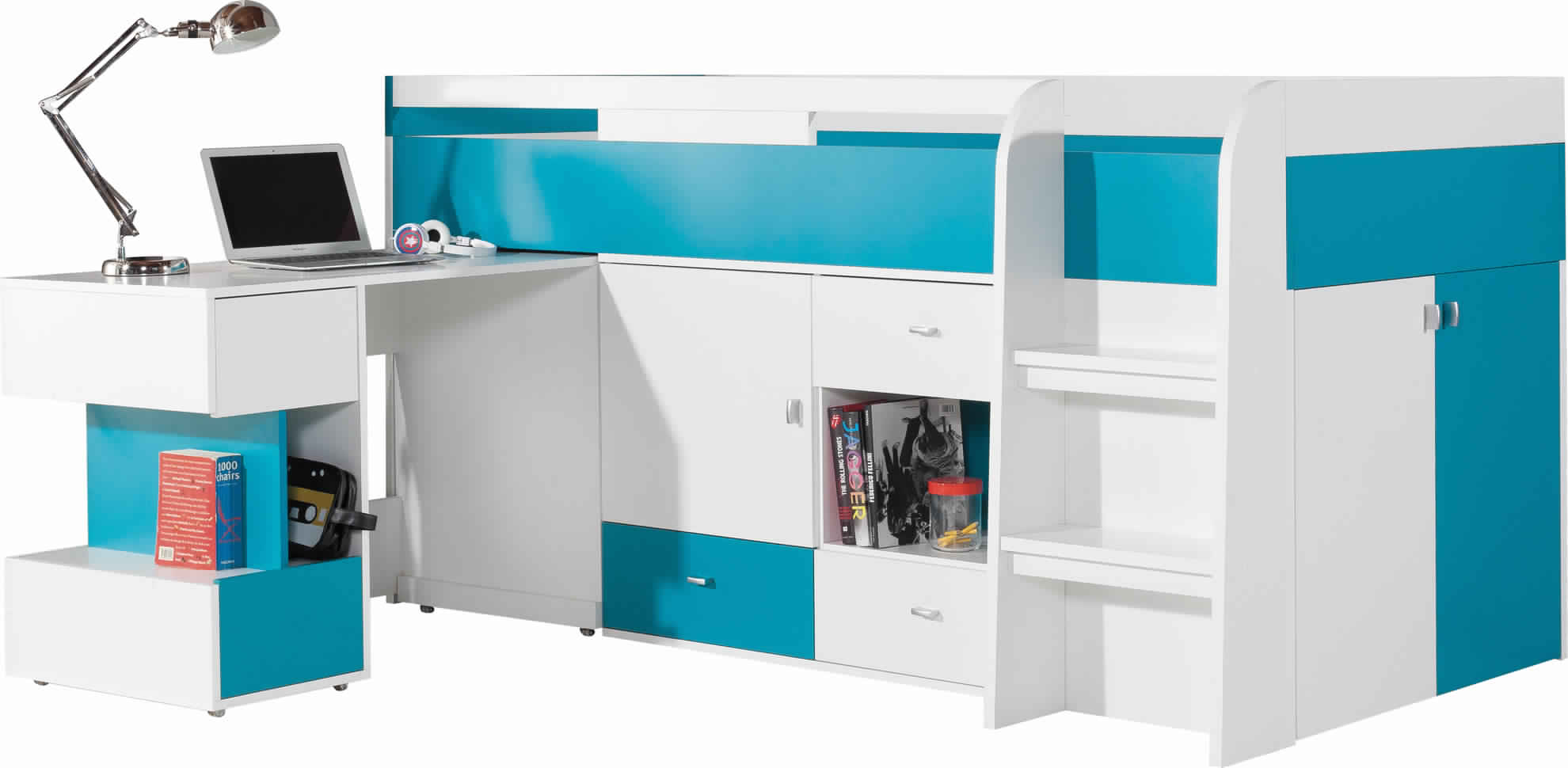Bunk Bed with Desk and built-in Storage space