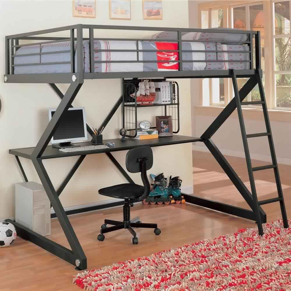 Bunk Bed with Desk metal workstation for adults