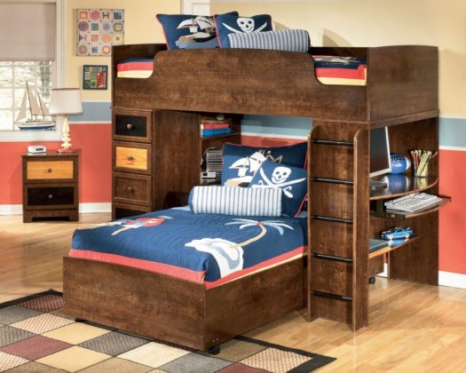 Bunk Bed with Desk in the Interior of the child
