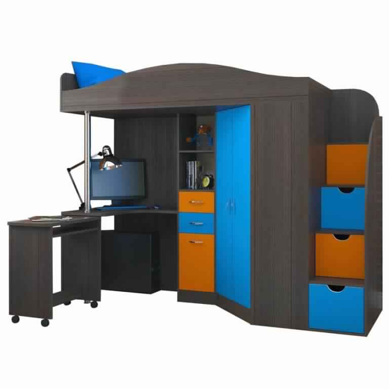 Bunk Bed with Desk and children furniture design