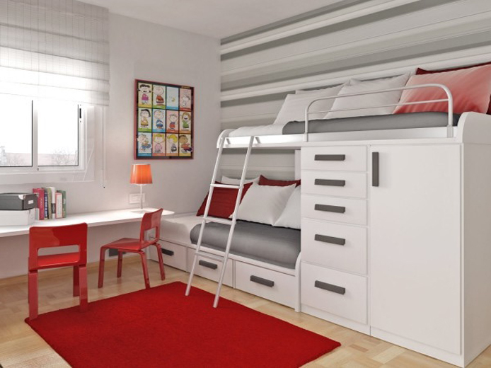 Bunk Bed with Desk for 2 or more children in one room