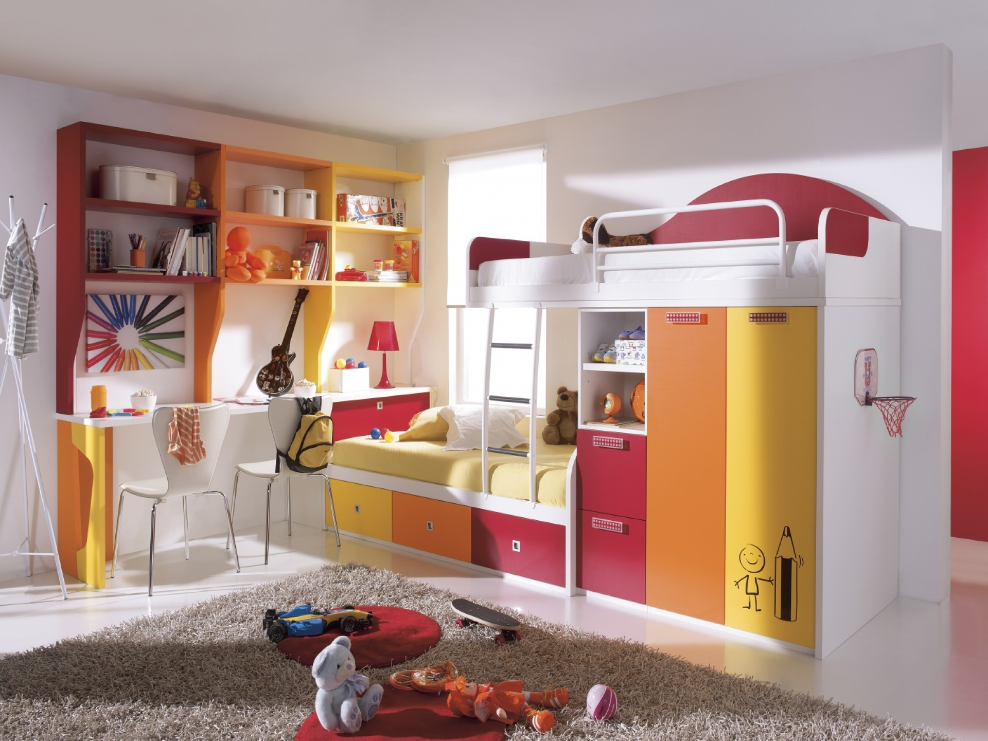 Bunk Bed with Desk double design
