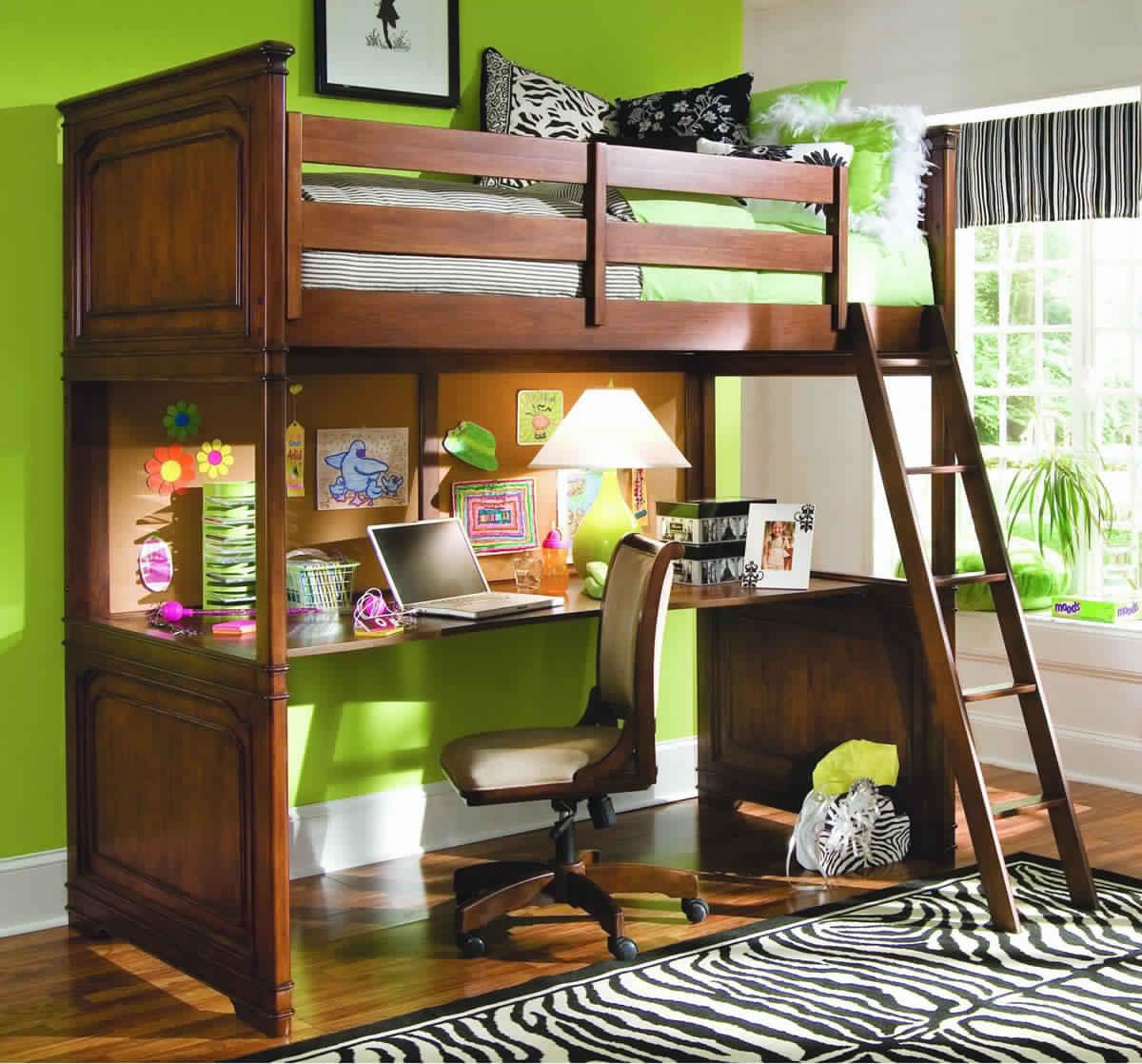 Bunk Bed with Desk wooden design