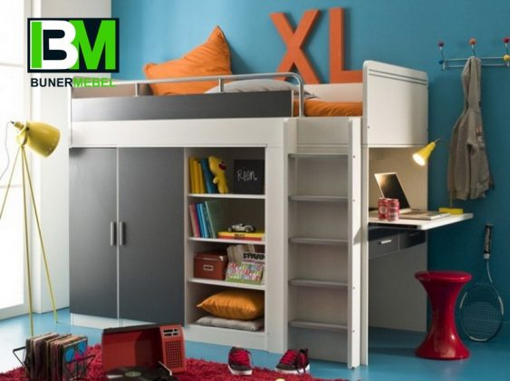 Bunk Bed with Desk Loft bed for teen lady