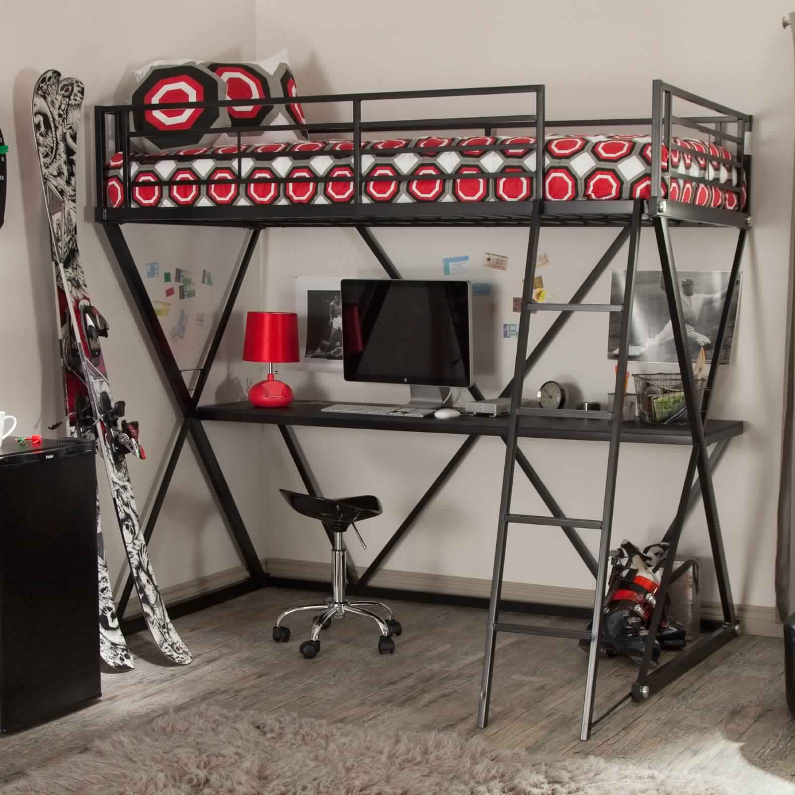 Bunk Bed with Desk in metal design and working area