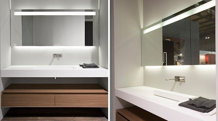 Modern Bathroom Design Long Rectangle mirror