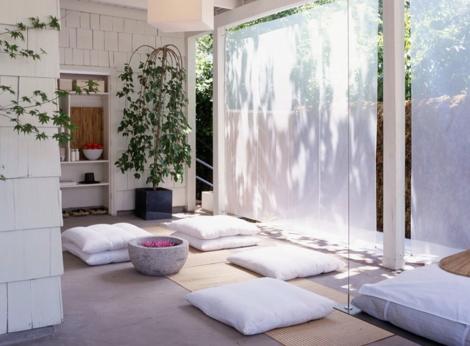 Meditation Room Decorating with Nature plants for relaxing