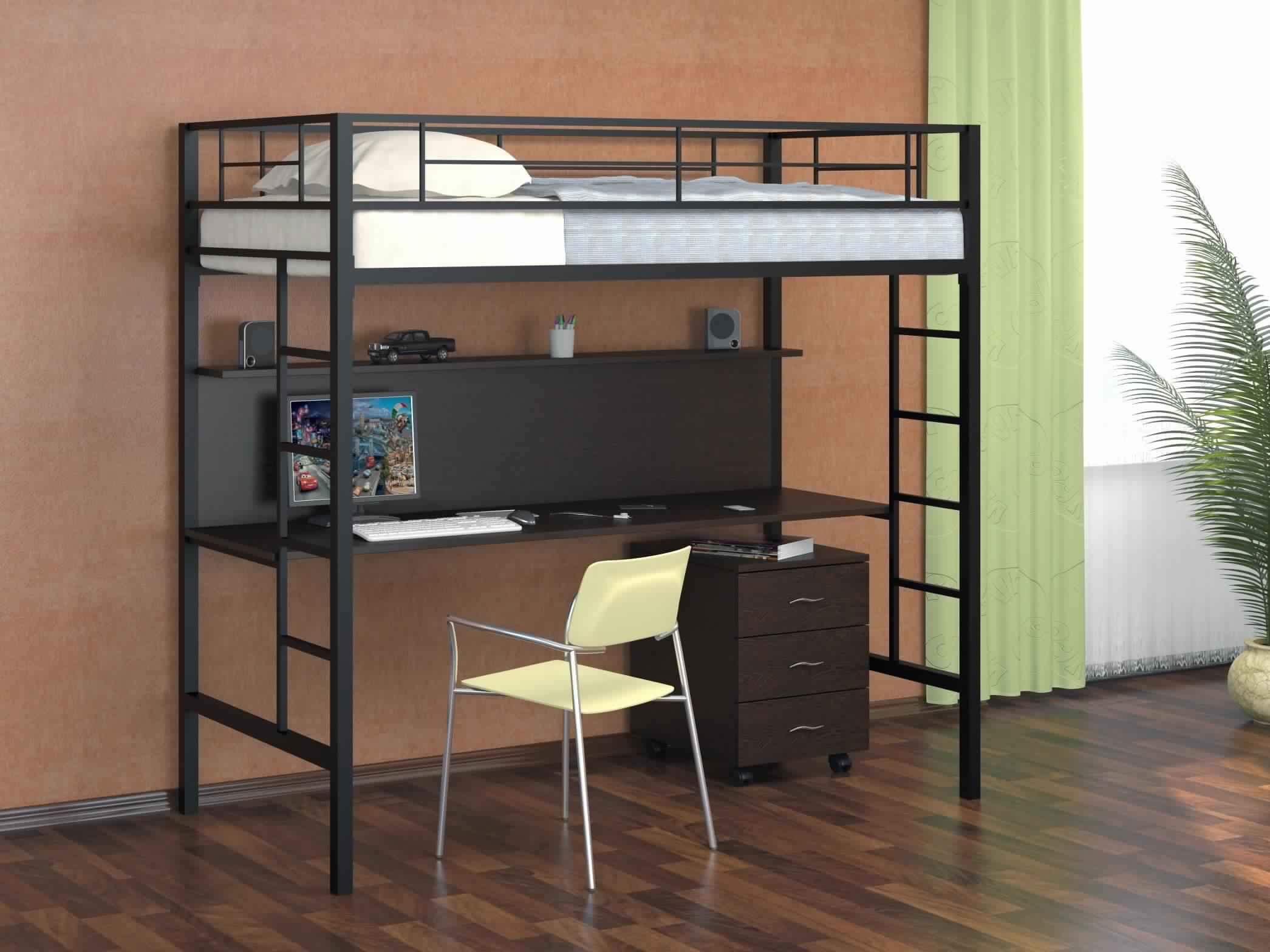 Bunk Bed with Desk metal design