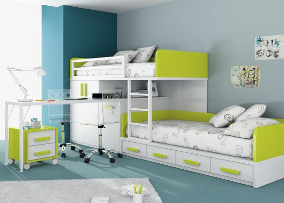 Bunk Bed with Desk Modular wall unit with bed