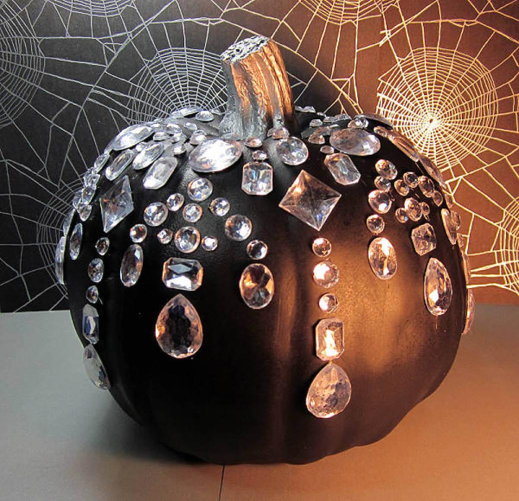 Outdoor Halloween Decorations for Black paint pumpkin with diamonds