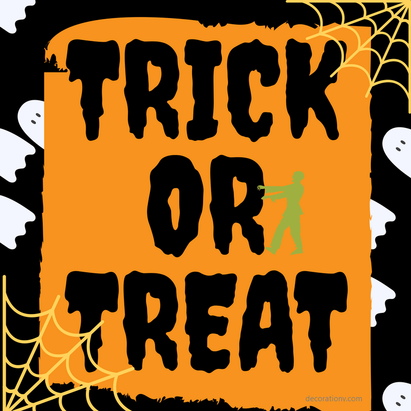 printable halloween decorations - trick or treat halloween bag label