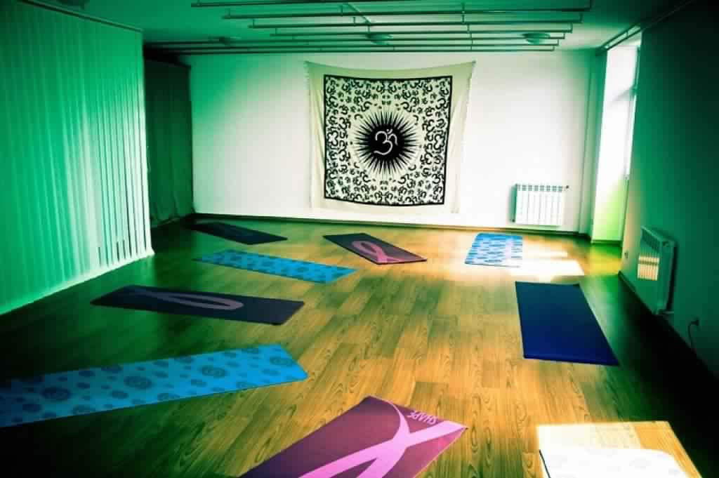 Meditation Room Decorating studio with disco lighting