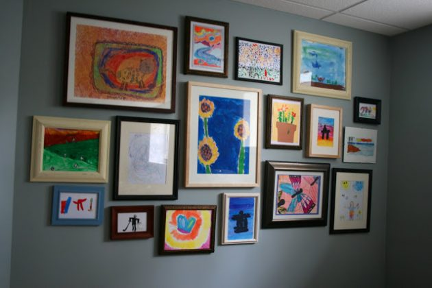 lovely kids art gallery wall ideas