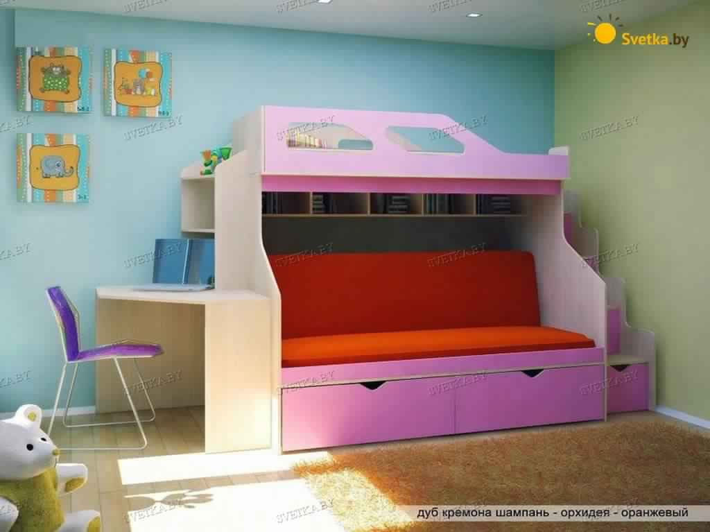 Bunk Bed with Desk cute pink girly design