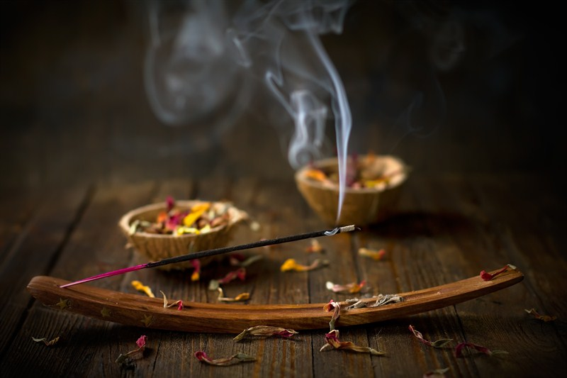 Meditation Room Decorating burning stick sage