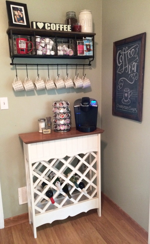 Coffee bar and wine rack in one piece