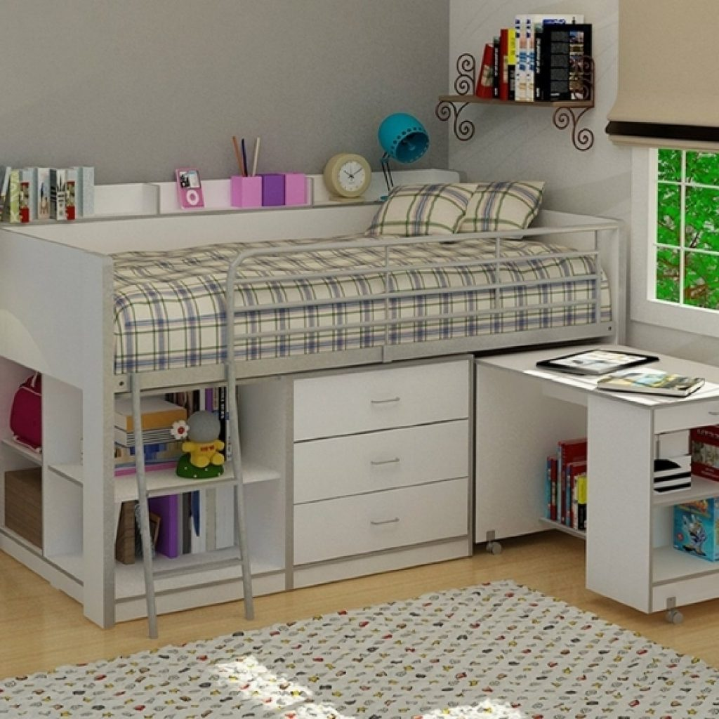 Bunk Bed with Desk for colleage girl bedroom