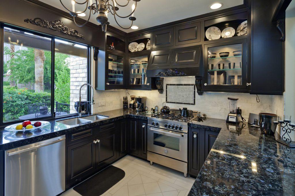 small dark kitchen cabinets