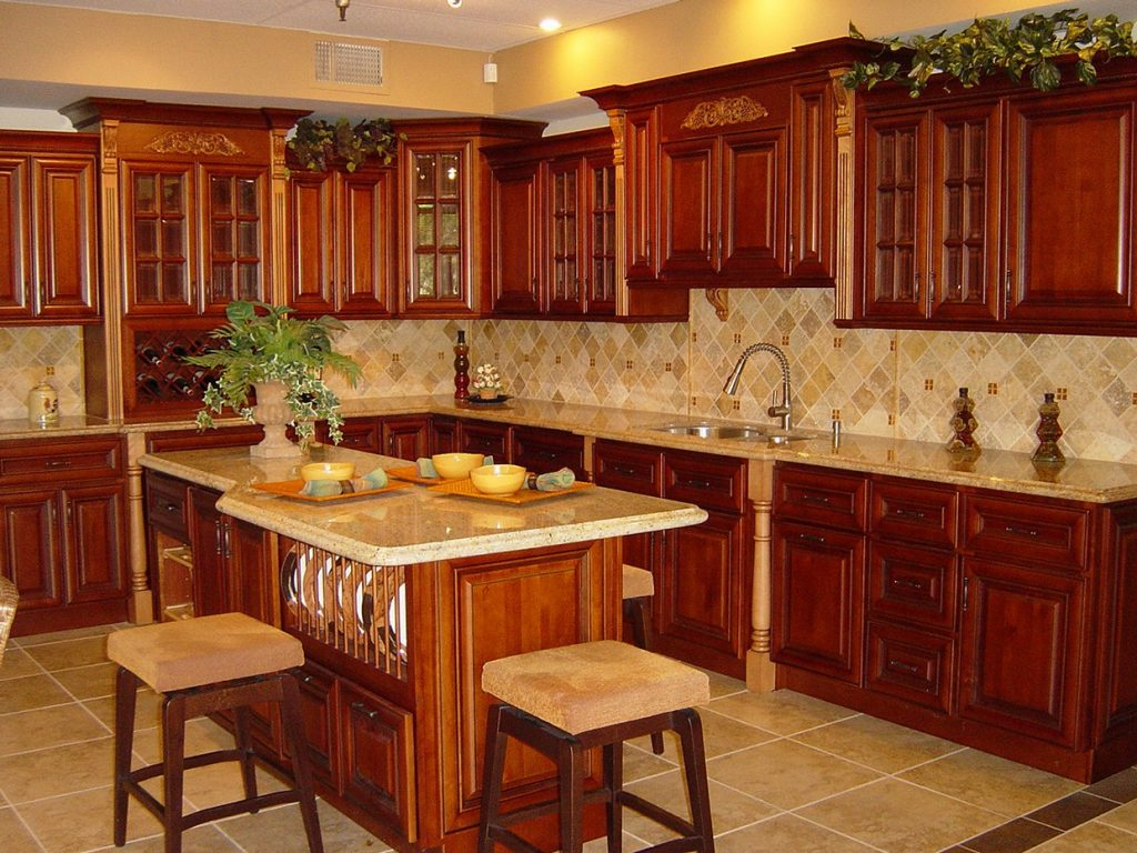 Cherry kitchen cabinets - rustic kitchen cabinets