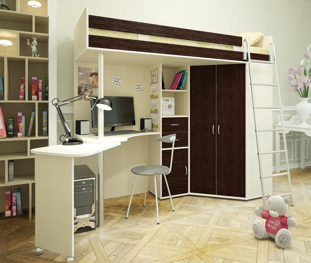 Bunk Bed with Desk design for teen girl room