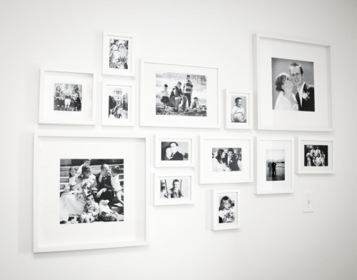 gallery wall ideas - two inch space divides two generations