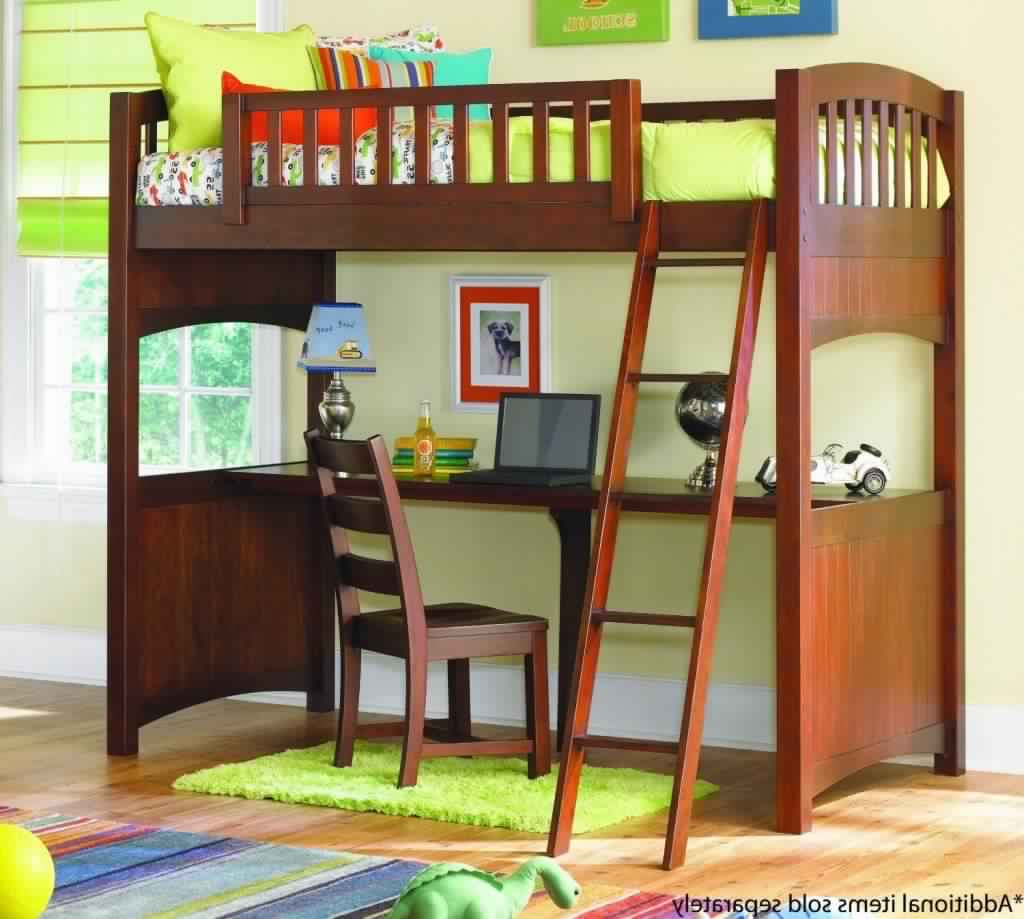 Bunk Bed with Desk in wooden design