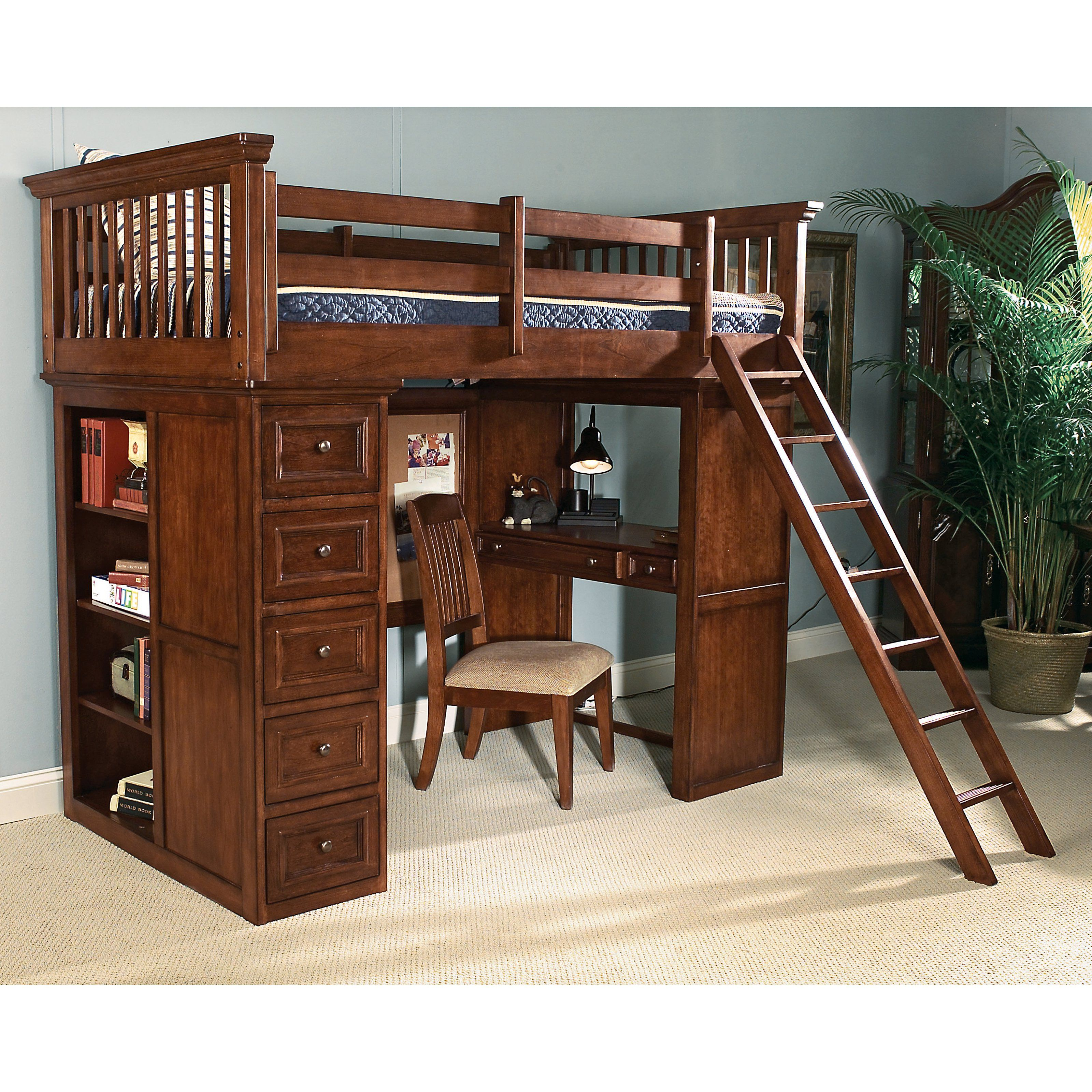 Bunk Bed with Desk with storage and ladder