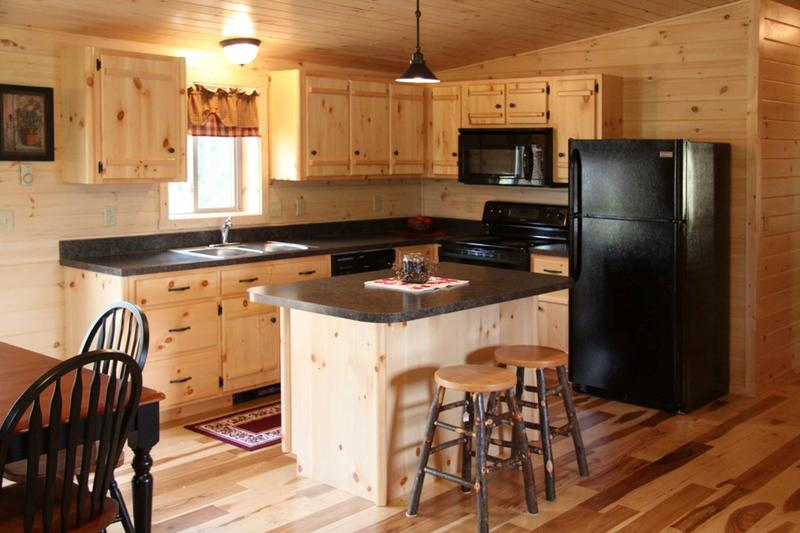 Pine rustic kitchen cabinets